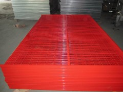 Red temporary fencing